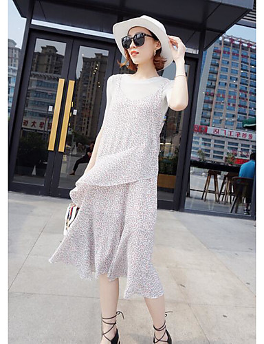 Women's Daily Contemporary Spring Summer Fall T-shirt Dress Suits,Floral Round Neck Half Sleeve