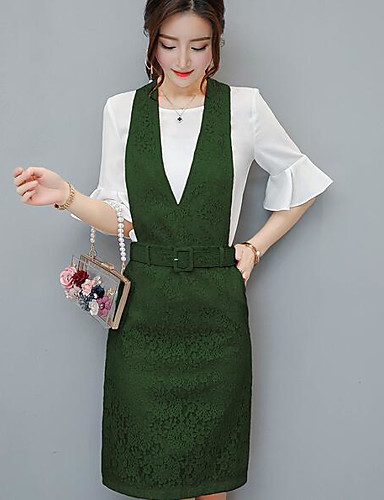 Women's Daily Casual Casual Summer T-shirt Dress Suits,Solid Lace Round Neck Short Sleeve Chiffon Micro-elastic