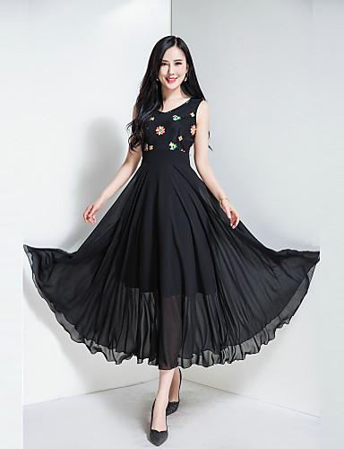 Mulheres Para Noite Vintage Boho Chifon balanço Vestido Floral Decote V Cintura Alta Longo