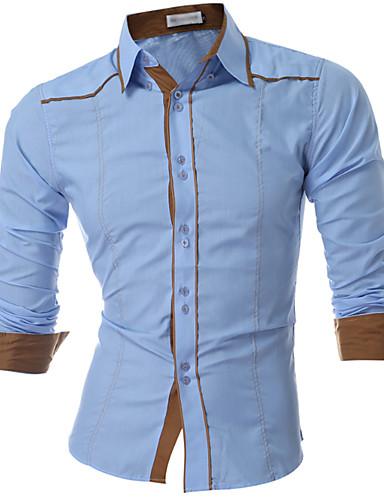 Homens Camisa Social Diário Casual Primavera Outono, Sólido Fibra Sintética Colarinho de Camisa Manga Longa