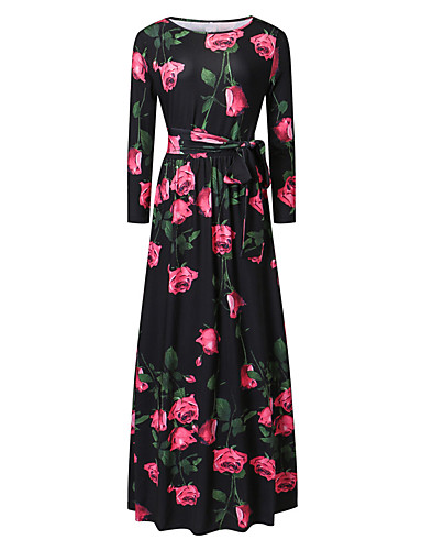 Women's Party Vintage Street chic Swing Dress,Floral Round Neck Maxi Long Sleeves Polyester Others Spring Summer Mid Rise Inelastic Thin