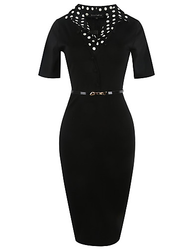 Women's Work Vintage Casual Street chic Bodycon Sheath Dress - Solid Colored Polka Dot High Rise V Neck