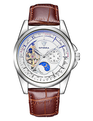 Men's Skeleton Watch Mechanical Watch Japanese Automatic self-winding Noctilucent Leather Band Brown
