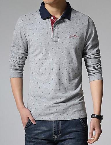 Bomull Annet Langermet,Skjortekrage T-skjorte Ensfarget Trykt mønster Vår Enkel Fritid/hverdag Herre