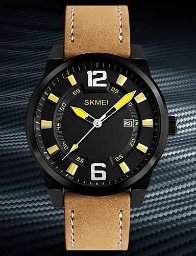 SKMEI Homens Relógio de Pulso Japanês Calendário / Impermeável / Legal Couro Legitimo Banda Casual / Fashion / Relógio Elegante Cáqui / Dois anos / Maxell626 + 2025