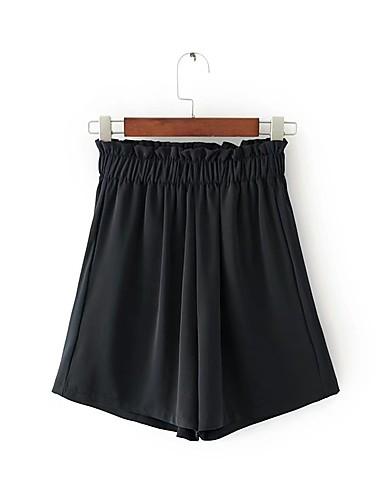 Dame Gatemote Mikroelastisk Shorts Bukser,Løstsittende Mellomhøyt liv Ensfarget