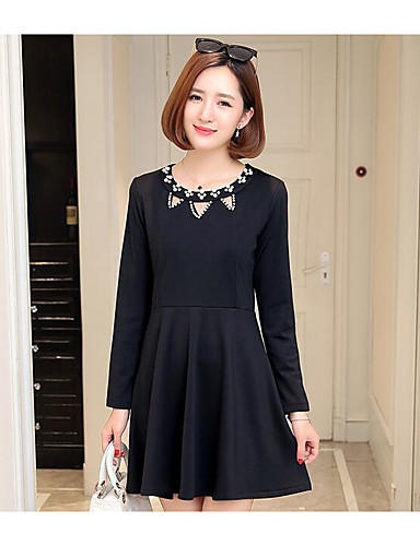 Women's Simple Sheath Dress - Solid Colored / Fall / Winter