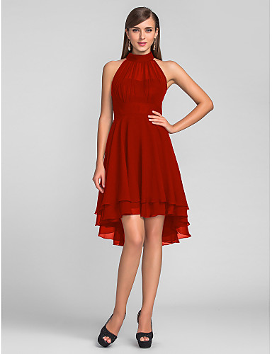 f0f956820d11 Χαμηλού Κόστους Φορέματα για Καλεσμένους σε Γάμο-Γραμμή Α Δένει στο Λαιμό  Ασύμμετρο Σιφόν Μικρό