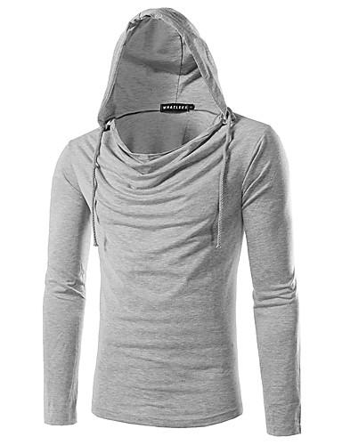 Homens Camiseta Sólido Com Capuz