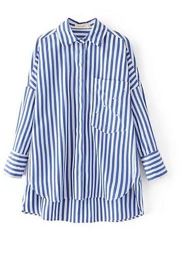 Bomull Medium Langermet,Skjortekrage Skjorte Stripet Sommer Gatemote Ut på byen Fritid/hverdag Dame