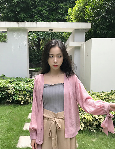 Women's Casual Casual Summer Denim Jacket,Solid Shawl Lapel Long Sleeve Regular Cotton Oversized