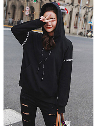 Women's Daily Hoodie Solid Hooded Micro-elastic Cotton Long Sleeve Spring