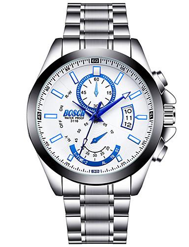 Men's Fashion Watch Quartz Calendar / date / day Luminous Stainless Steel Band Casual Silver