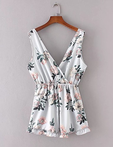 Women's Going out Daily Sexy Street chic Floral V Neck Rompers