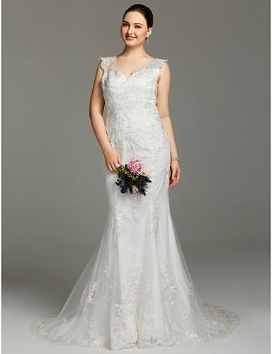 Sereia Decote V Cauda Corte Renda Vestidos de casamento feitos à medida com Apliques / Botões de LAN TING BRIDE® / Sem costas / Transparências