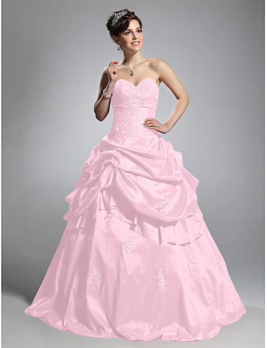 cheap Quinceanera Dresses-Ball Gown Sweetheart Neckline Floor Length Taffeta Formal Evening Dress with Pick Up Skirt by TS Couture®