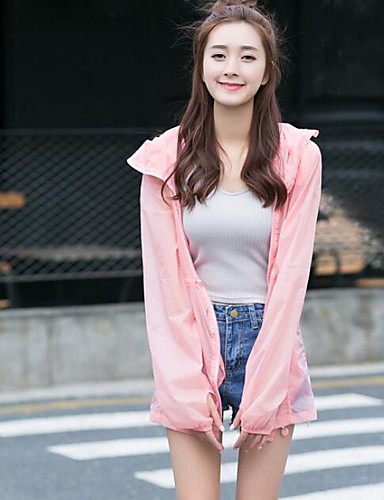 Women's Daily Casual Contemporary Summer Trench Coat,Solid Hooded Long Sleeve Long Polyester