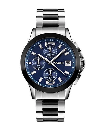 SKMEI Men's Wrist Watch Japanese Quartz 30 m Water Resistant / Water Proof Calendar / date / day Stopwatch Stainless Steel Band Analog Vintage Silver - White Black Blue Two Years Battery Life