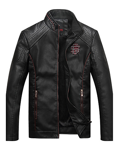 Men's Fashion / Punk & Gothic Plus Size Slim Leather Jacket - Solid Colored Stand / Long Sleeve