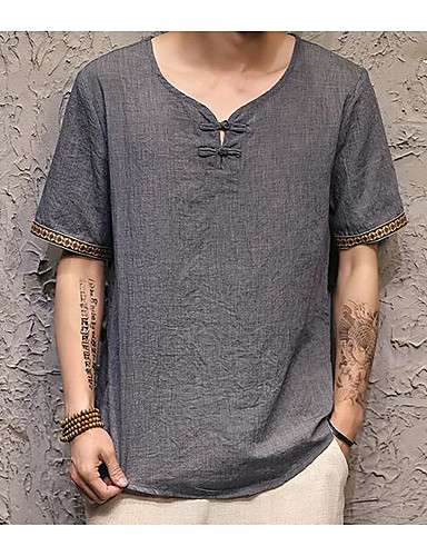 Men's Casual Chinoiserie Summer T-shirt,Solid Round Neck Short Sleeve Cotton Linen Thin
