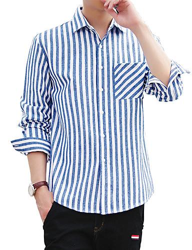 Bomull Skjorte Herre - Ensfarget Stripet Geometrisk Vintage Fritid Gatemote Sport Strand Klubb