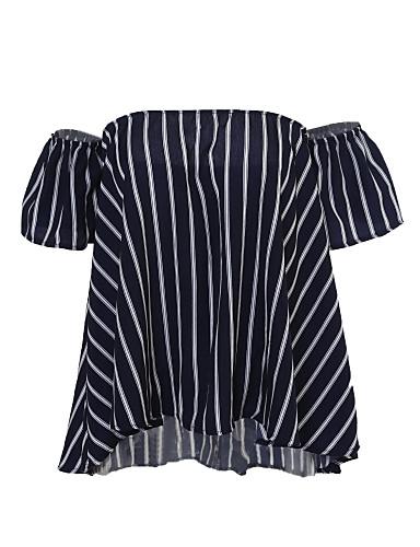 Naiset Lyhythihainen Ohut Pyöreä kaula-aukko Polyesteri Kesä Yksinkertainen Päivittäin Rento/arki Pusero,Painettu