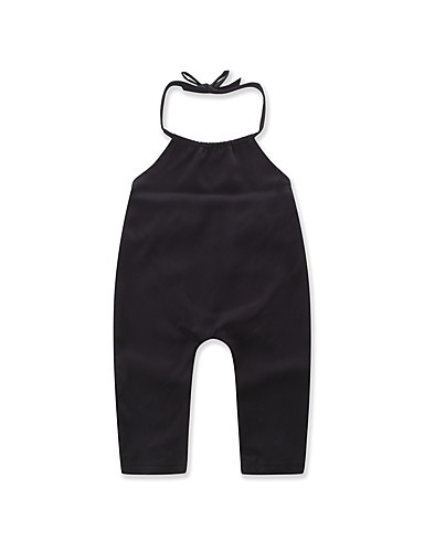 Girls' Solid Polka Dot Overall & Jumpsuit, Cotton Summer Dresswear Blue Black