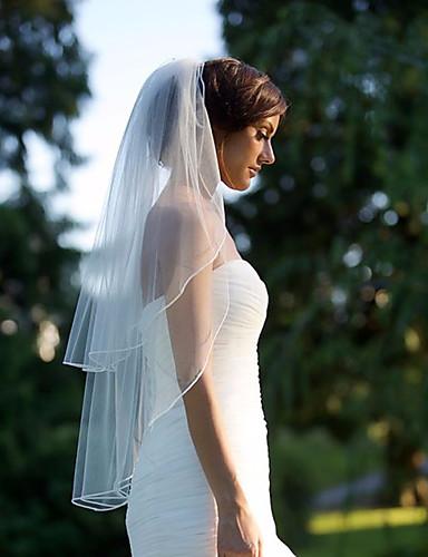 Kétkapcsos Vágott szegély Menyasszonyi fátyol Könyékig érő fátylak val vel Fodrozott Sifon / Klasszikus