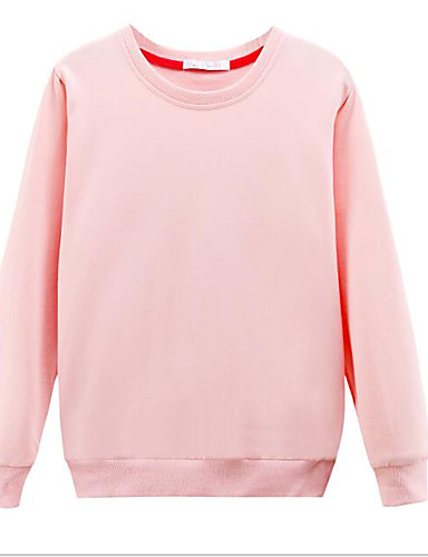 Women's Daily Sweatshirt Solid Round Neck Micro-elastic Cotton Long Sleeve Winter
