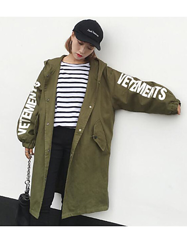 Women's Daily Simple Casual Spring Coat,Letter Hooded Long Sleeve Long Cotton