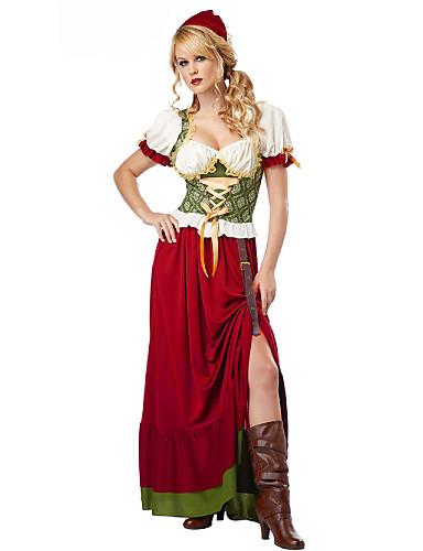 hesapli Oktoberfest-Kasım Festivali üstü dar altı geniş elbise Trachtenkleider Kadın's Elbise Şapka Bavyera Kostüm Kırmzı