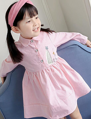 Girl's Solid Dress,Polyester Summer Long Sleeve