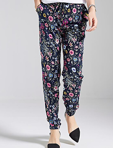 Women's Mid Rise Micro-elastic Chinos Pants,Simple Harem Floral Geometric Print