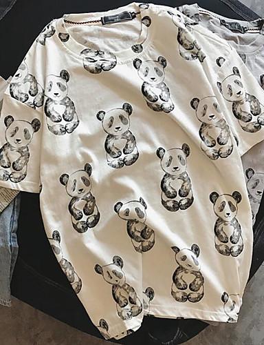 Strikketøy Medium Kortermet,Rund hals T-skjorte Panda Sommer Enkel Daglig Herre