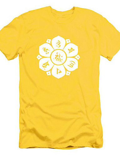 Men's Cotton T-shirt Print Jacquard Round Neck