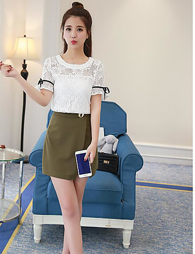 Women's Daily Casual/Daily Summer Blouse Skirt Suits,Solid Round Neck Short Sleeve Cotton/nylon with a hint of stretch