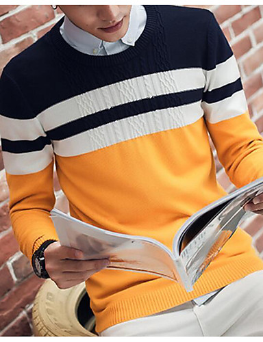 Men's Daily Casual Regular Pullover,Color Block Round Neck Long Sleeve Cotton Knitwear Spring Fall Medium Micro-elastic
