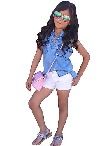 Girls' Solid Clothing Set, Cotton Others Summer Sleeveless Dresswear Blue