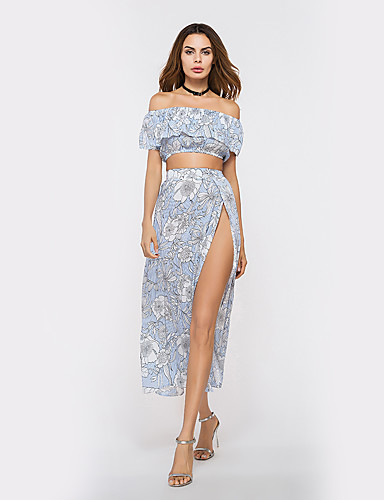 Women's Holiday Going out Club Beach Vintage Sexy Summer Shirt Skirt Suits,Floral Strapless Sleeveless Cotton
