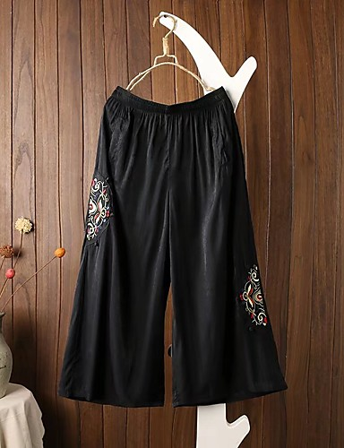 Women's Mid Rise strenchy Culotte Pants,Street chic Wide Leg Relaxed Pure Color Stripe Embroidery