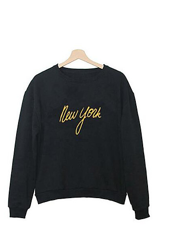 Men's Daily Sweatshirt Letter Round Neck Micro-elastic Cotton Long Sleeve Spring