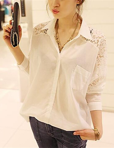 Women's Daily Going out Sexy Summer Fall T-shirt,Solid Shirt Collar Long Sleeves Polyester Medium