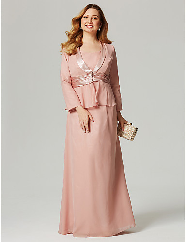Sheath / Column Scoop Neck Floor Length Chiffon Mother of the Bride Dress with Sash / Ribbon Ruched by LAN TING BRIDE®