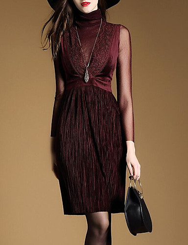 Women's Going out Cotton Sheath Dress - Solid Colored / Mesh Crew Neck / Spring / Summer
