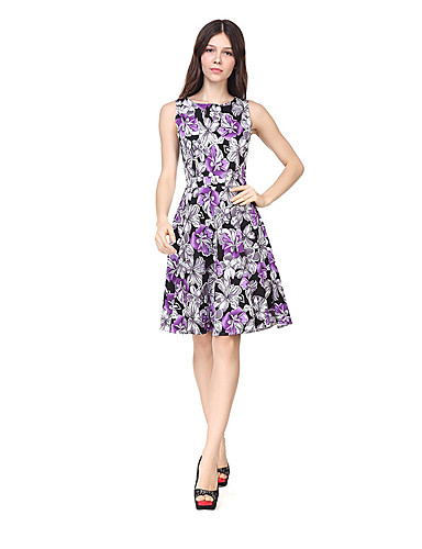 Women's Party Daily Going out Club Beach Holiday Vintage Sexy Boho Sheath Dress,Floral Round Neck Midi Sleeveless Polyester Summer High