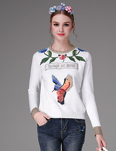 Women's Going out Short Pullover,Print Color Block Round Neck Long Sleeves Others Winter Medium Micro-elastic