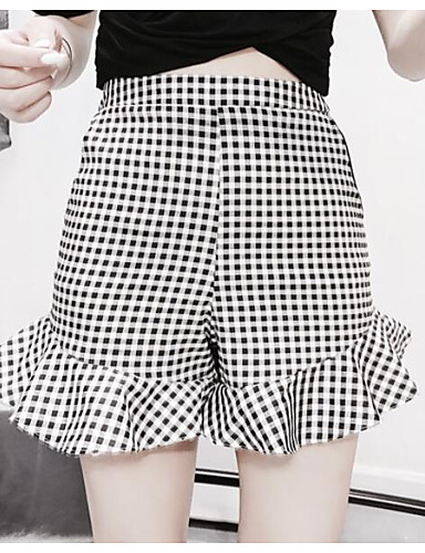 Women's Mid Rise strenchy Shorts Pants,Street chic Wide Leg Color Block