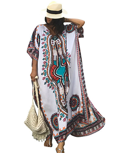 Women's Holiday Going out Cute Loose Dress,Print V Neck Maxi 3/4 Length Sleeves Polyester Spandex Summer High Rise Stretchy Medium