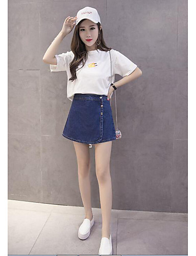 Women's Daily Casual Summer T-shirt Skirt Suits,Solid Crew Neck Short Sleeve Cotton/nylon with a hint of stretch strenchy