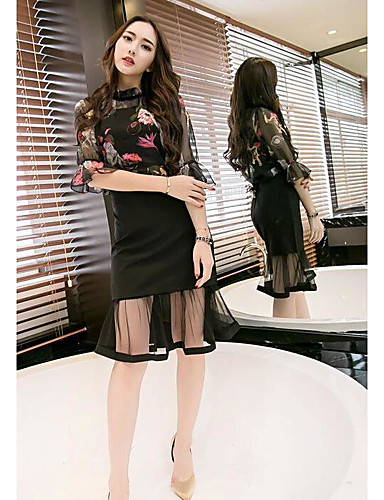 Women's Daily Going out Casual Summer Blouse Skirt Suits,Floral Crew Neck Half Sleeve Imitation Silk 100% Cotton